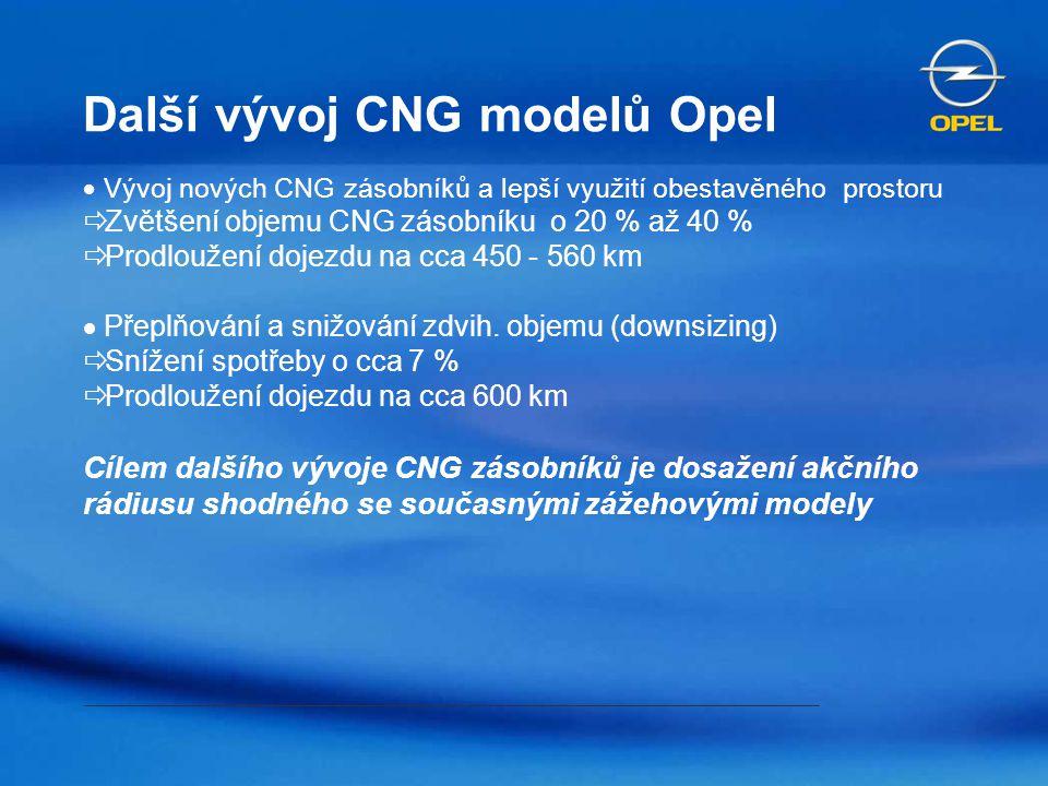 Další vývoj CNG modelů Opel
