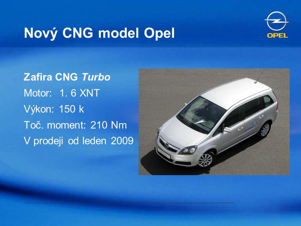 Nový CNG model Opel Zafira CNG Turbo Motor: 1. 6 XNT Výkon: 150 k