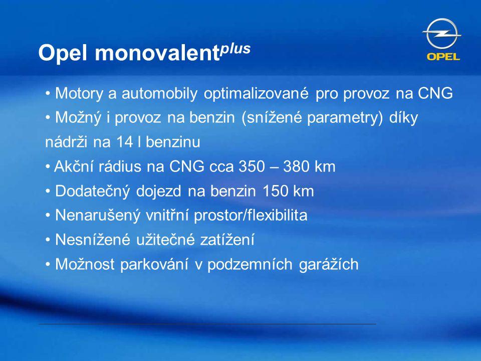 Opel monovalentplus Motory a automobily optimalizované pro provoz na CNG. Možný i provoz na benzin (snížené parametry) díky nádrži na 14 l benzinu.