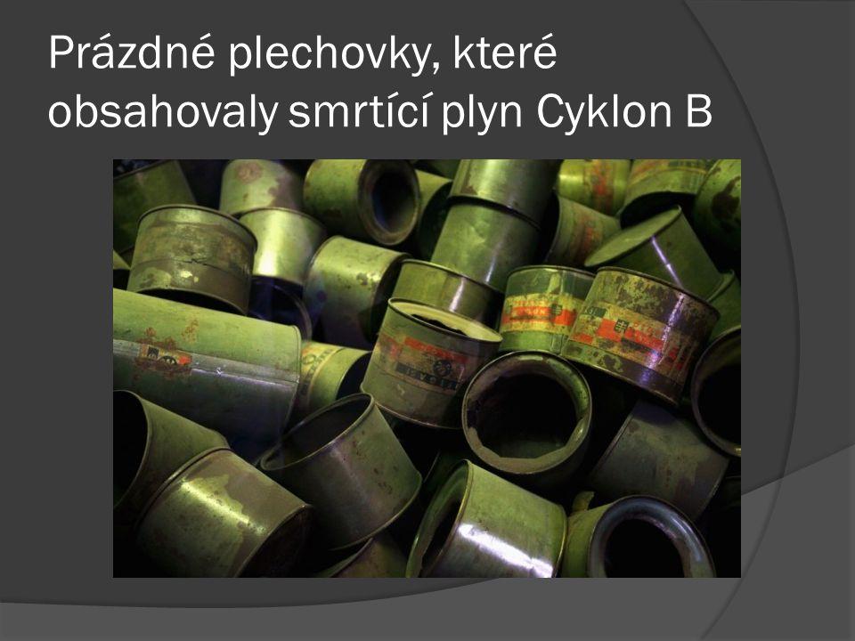 Prázdné plechovky, které obsahovaly smrtící plyn Cyklon B
