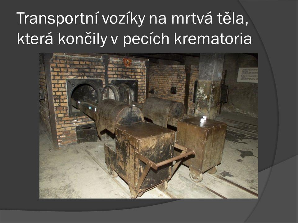 Transportní vozíky na mrtvá těla, která končily v pecích krematoria