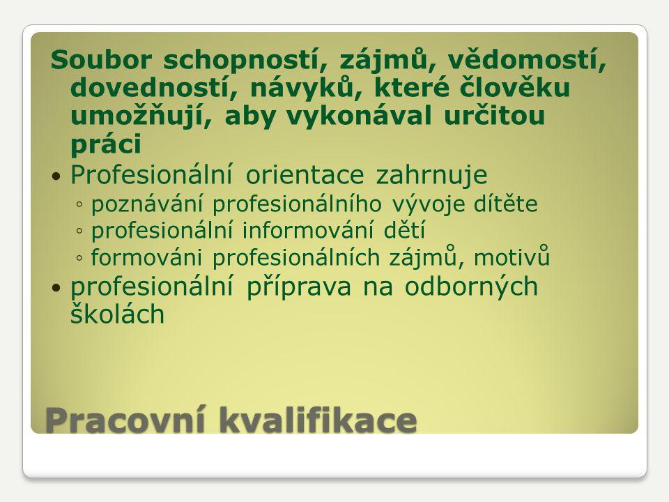 Soubor schopností, zájmů, vědomostí, dovedností, návyků, které člověku umožňují, aby vykonával určitou práci