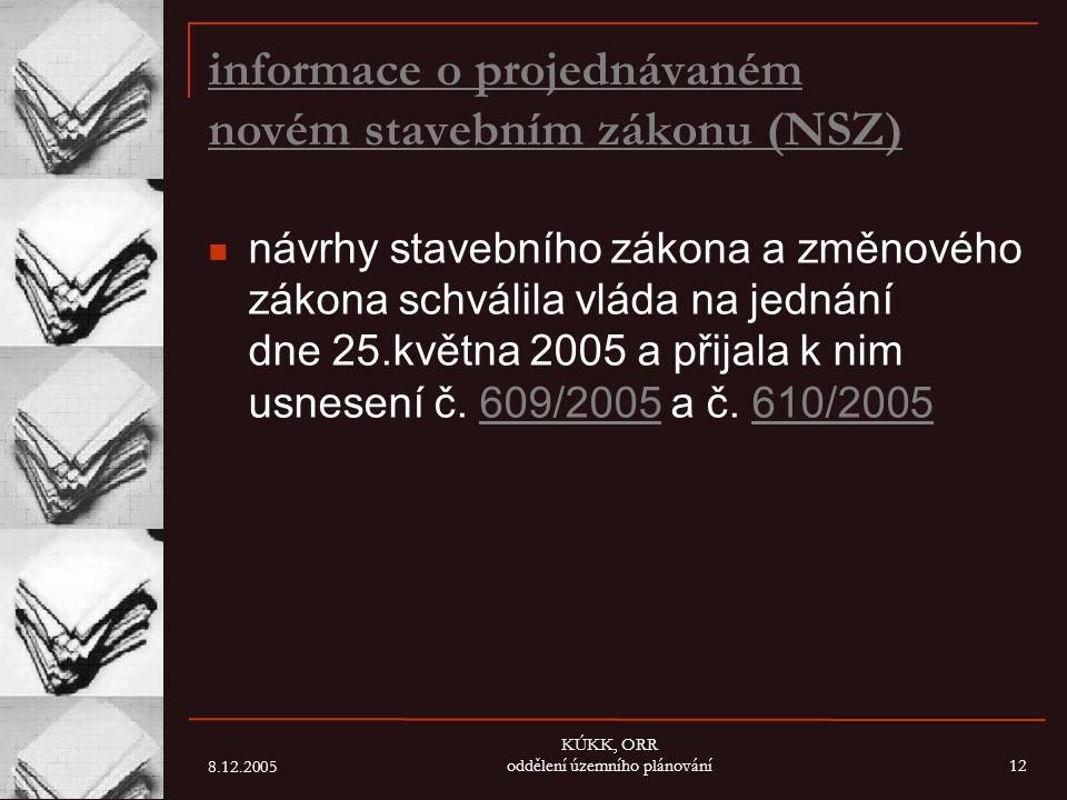 informace o projednávaném novém stavebním zákonu (NSZ)