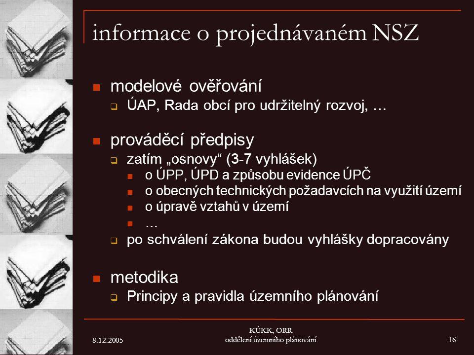 informace o projednávaném NSZ