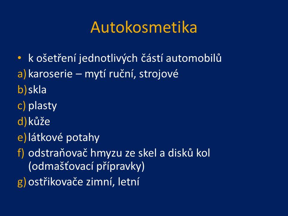 Autokosmetika k ošetření jednotlivých částí automobilů