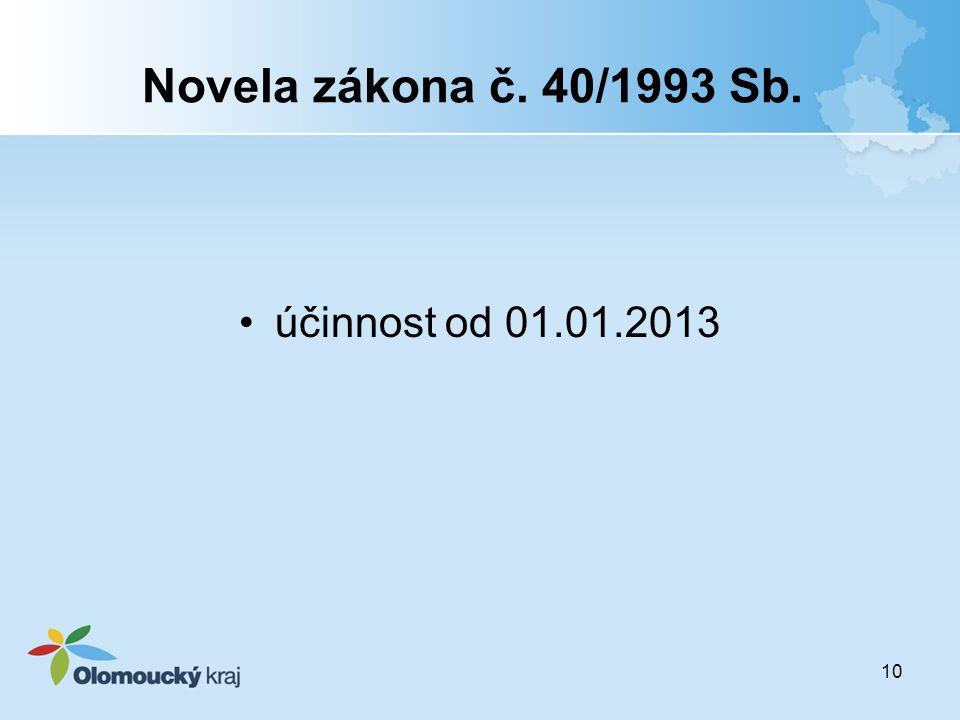 Novela zákona č. 40/1993 Sb. účinnost od 01.01.2013
