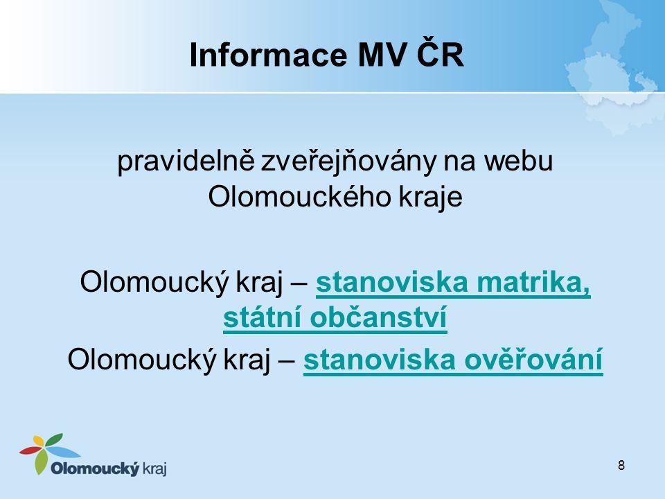 Informace MV ČR pravidelně zveřejňovány na webu Olomouckého kraje