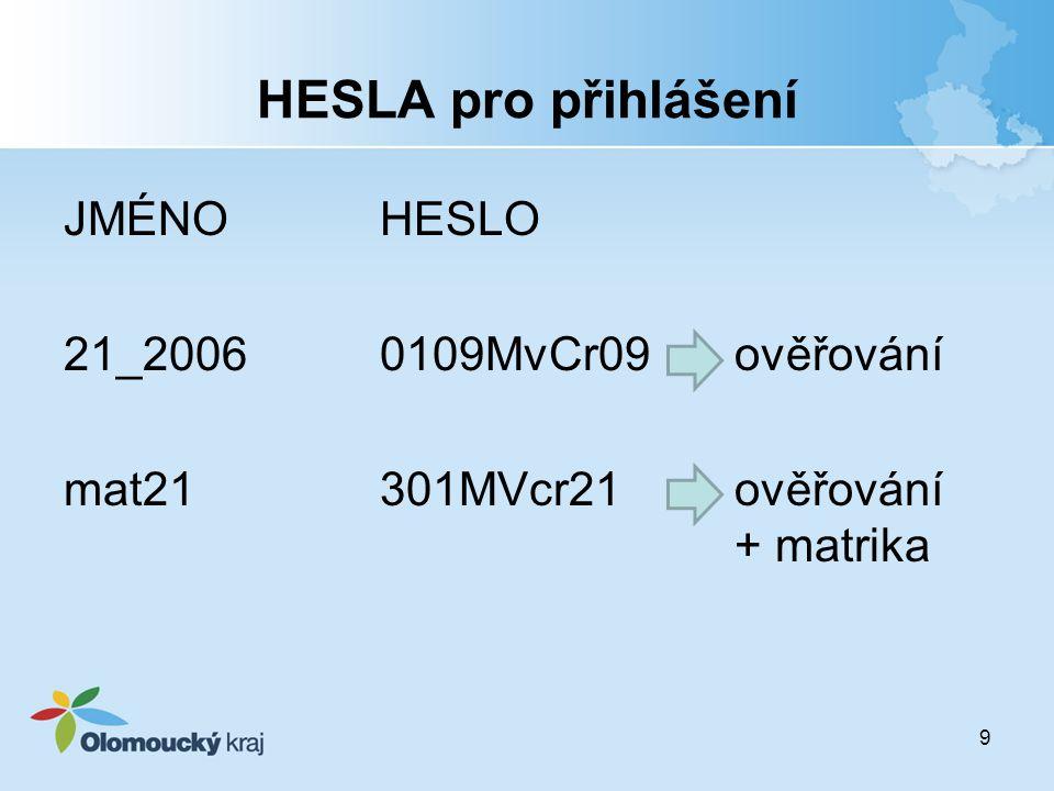 HESLA pro přihlášení JMÉNO HESLO 21_2006 0109MvCr09 ověřování mat21 301MVcr21 ověřování + matrika HESLA: