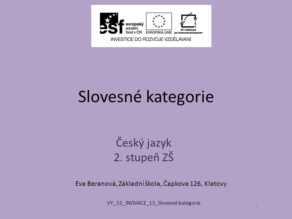 Slovesné kategorie Český jazyk 2. stupeň ZŠ