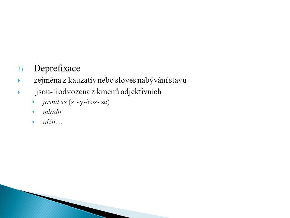Deprefixace zejména z kauzativ nebo sloves nabývání stavu