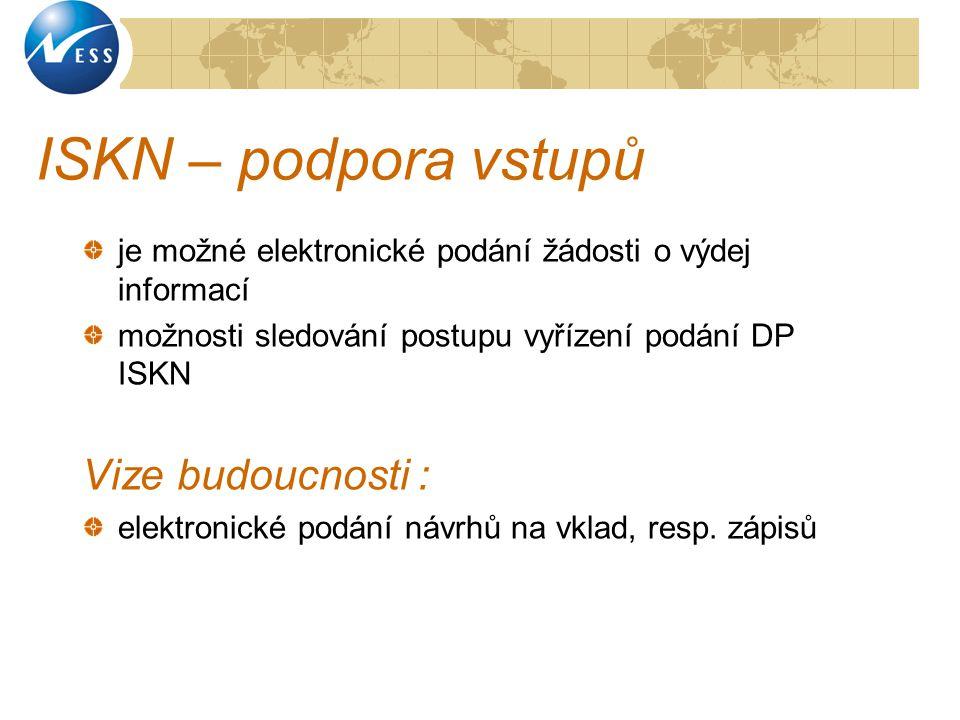 ISKN – podpora vstupů Vize budoucnosti :