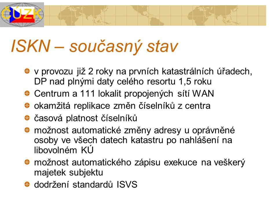 ISKN – současný stav v provozu již 2 roky na prvních katastrálních úřadech, DP nad plnými daty celého resortu 1,5 roku.