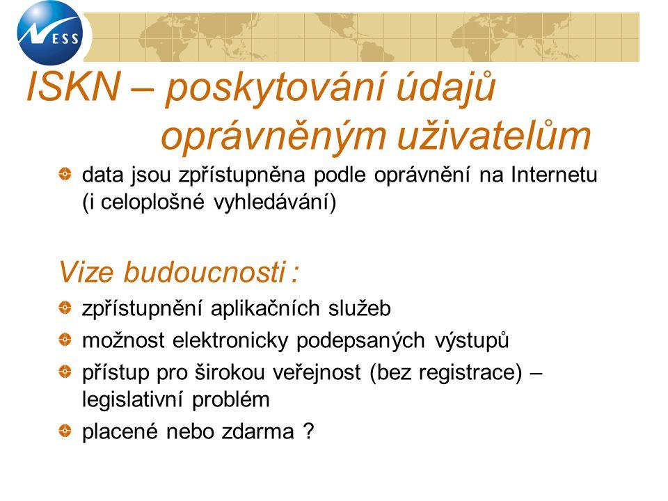 ISKN – poskytování údajů oprávněným uživatelům