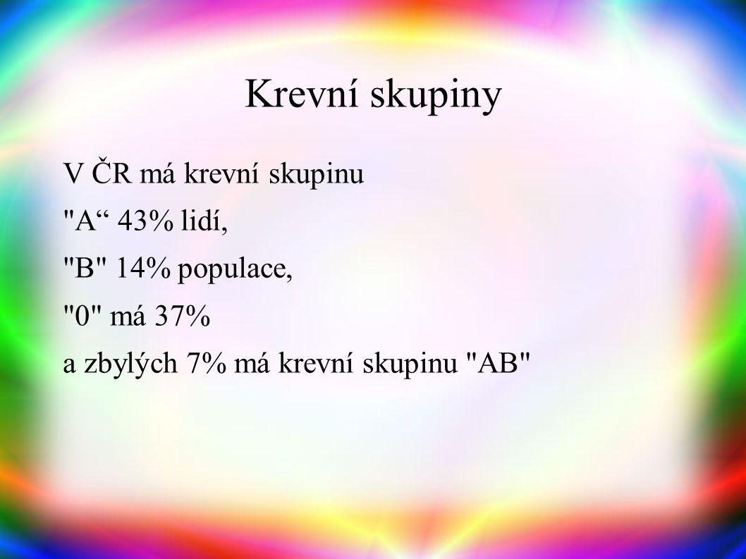 Krevní skupiny V ČR má krevní skupinu A 43% lidí, B 14% populace, 0 má 37% a zbylých 7% má krevní skupinu AB