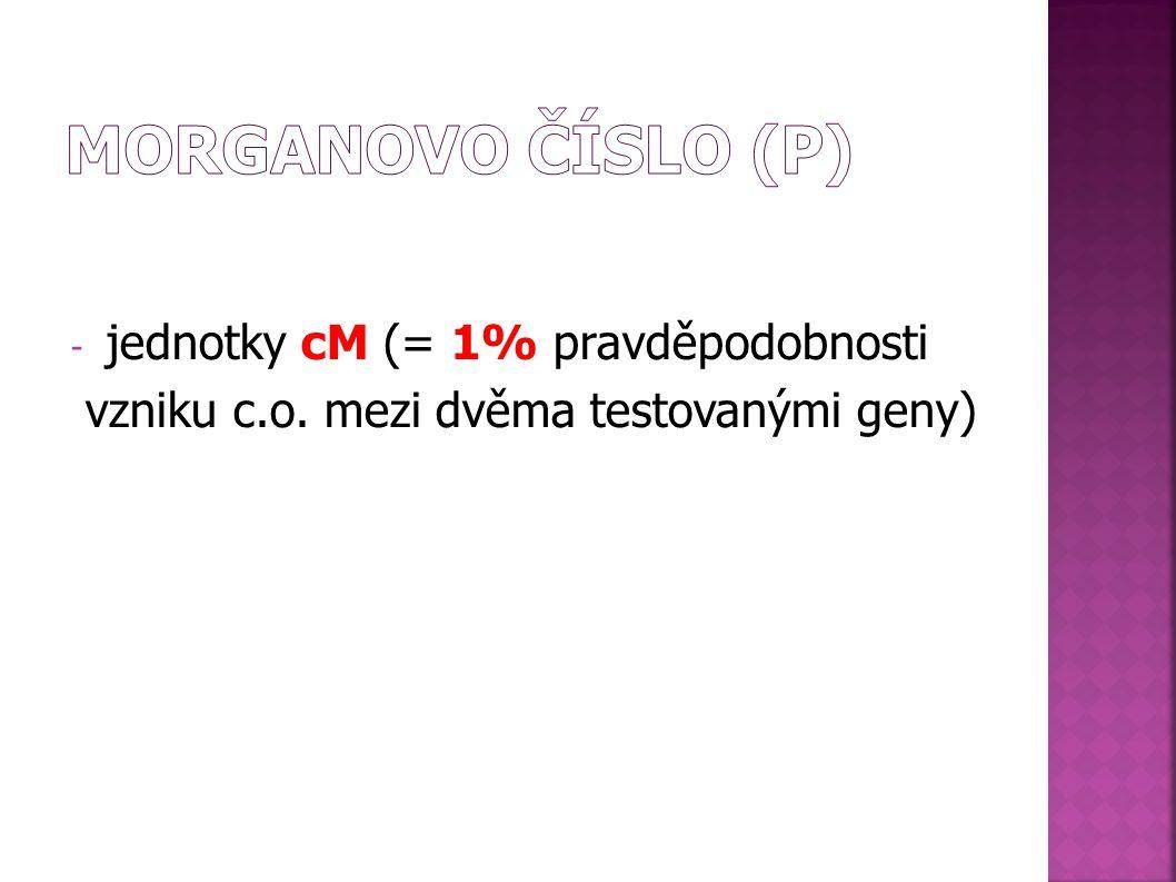 MORGANOVO ČÍSLO (p) jednotky cM (= 1% pravděpodobnosti