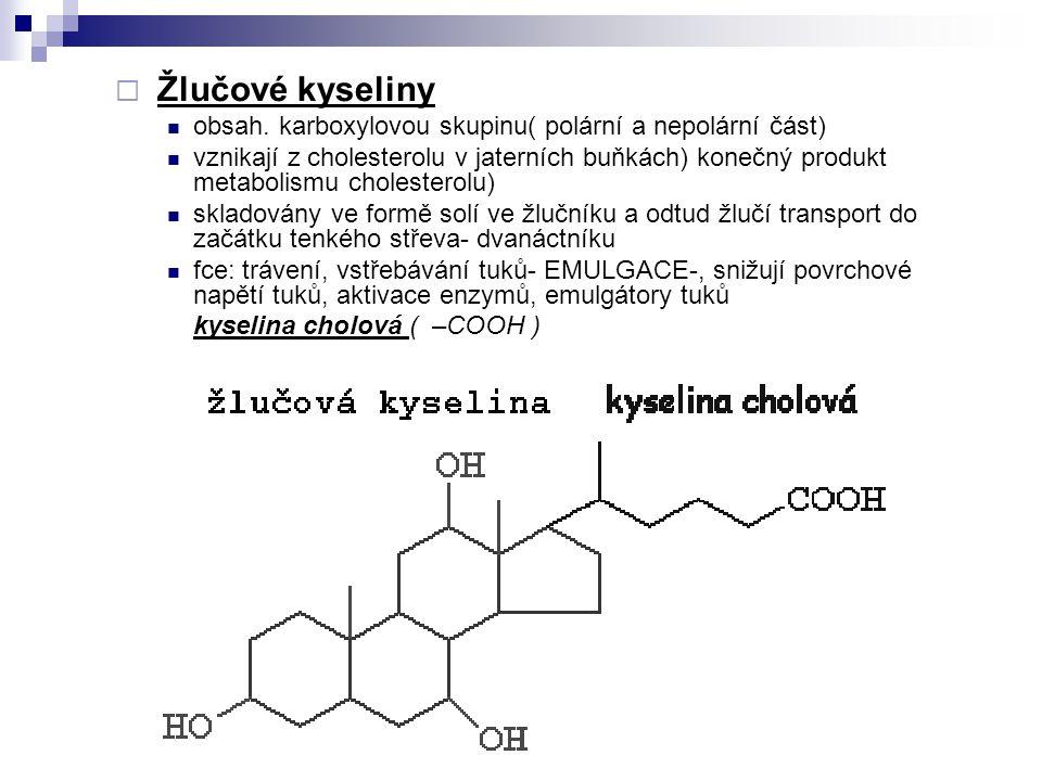 Žlučové kyseliny obsah. karboxylovou skupinu( polární a nepolární část)