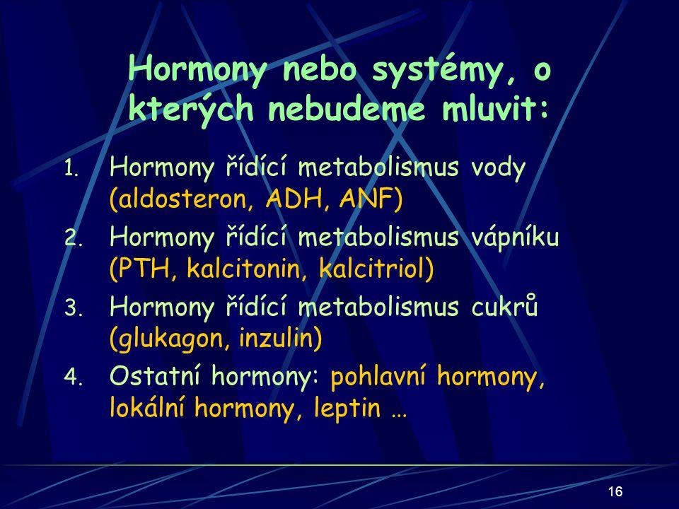 Hormony nebo systémy, o kterých nebudeme mluvit:
