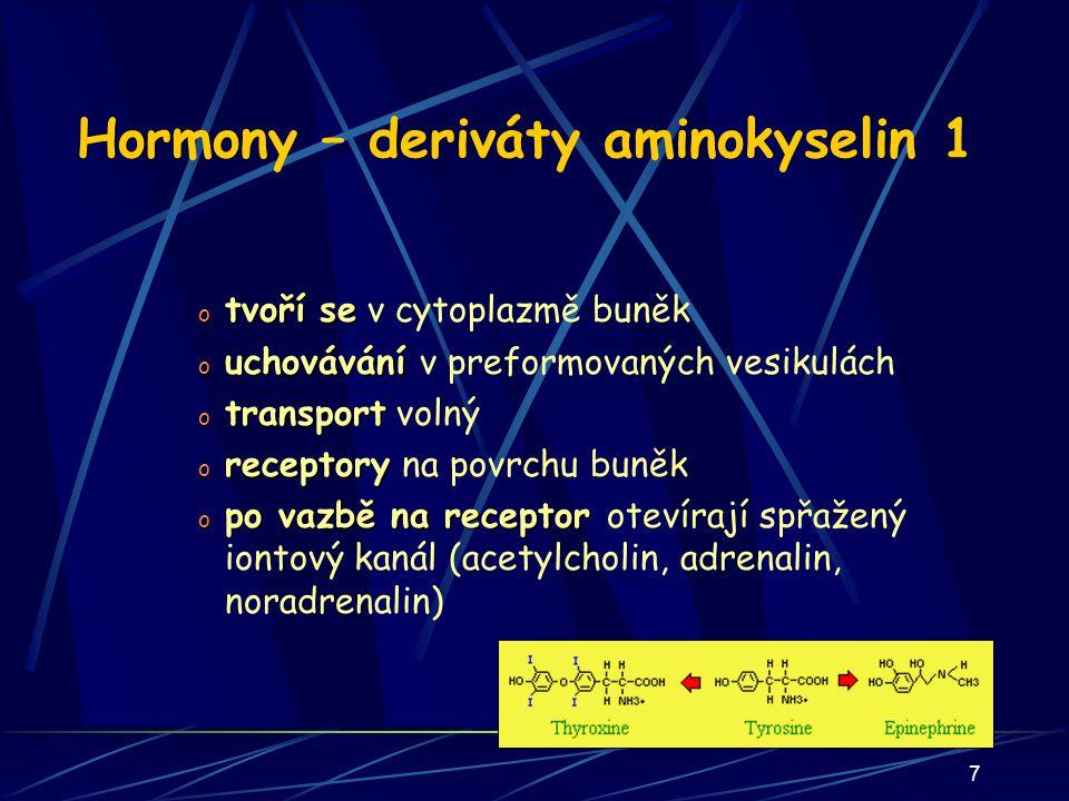 Hormony – deriváty aminokyselin 1