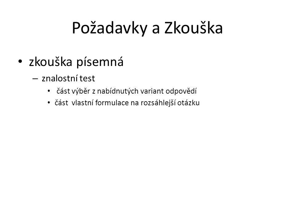 Požadavky a Zkouška zkouška písemná znalostní test