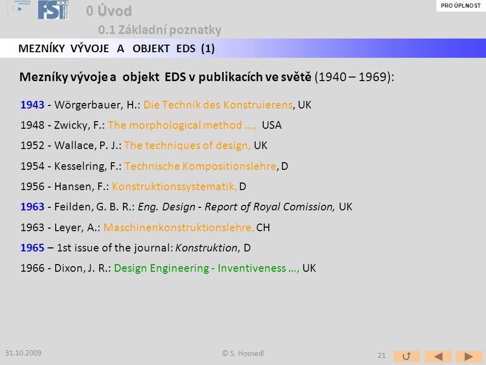 Mezníky vývoje a objekt EDS v publikacích ve světě (1940 – 1969):
