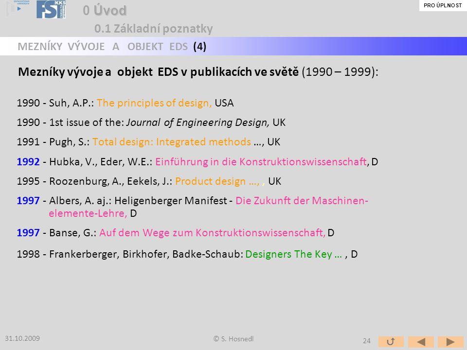Mezníky vývoje a objekt EDS v publikacích ve světě (1990 – 1999):