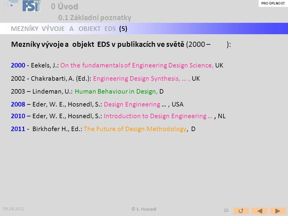 Mezníky vývoje a objekt EDS v publikacích ve světě (2000 – ):