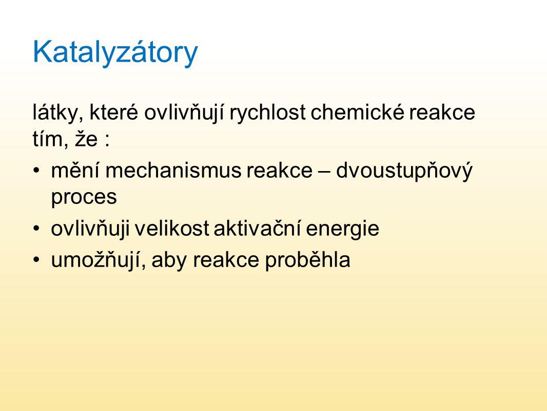 Katalyzátory látky, které ovlivňují rychlost chemické reakce tím, že :