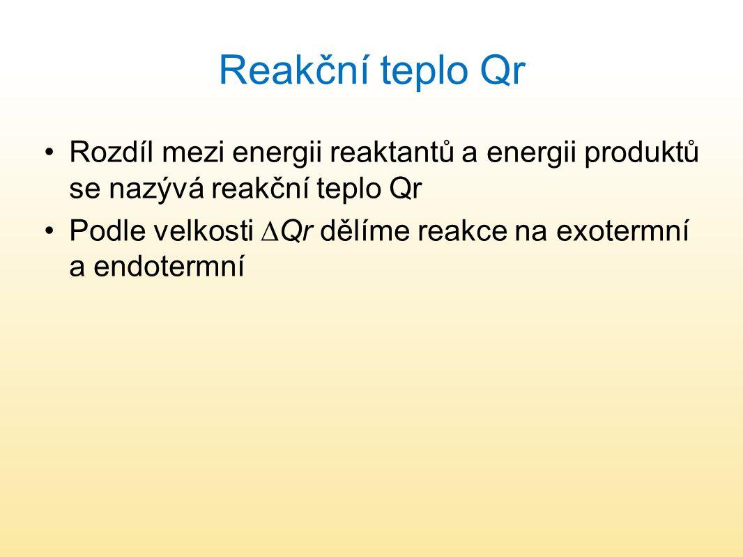Reakční teplo Qr Rozdíl mezi energii reaktantů a energii produktů se nazývá reakční teplo Qr.