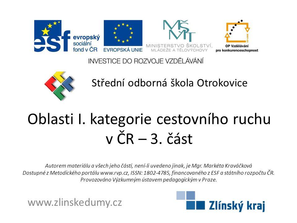 Oblasti I. kategorie cestovního ruchu v ČR – 3. část