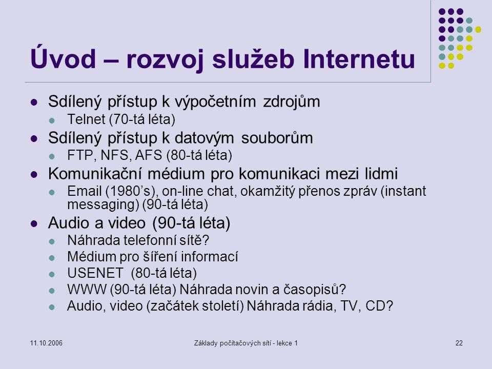 Úvod – rozvoj služeb Internetu