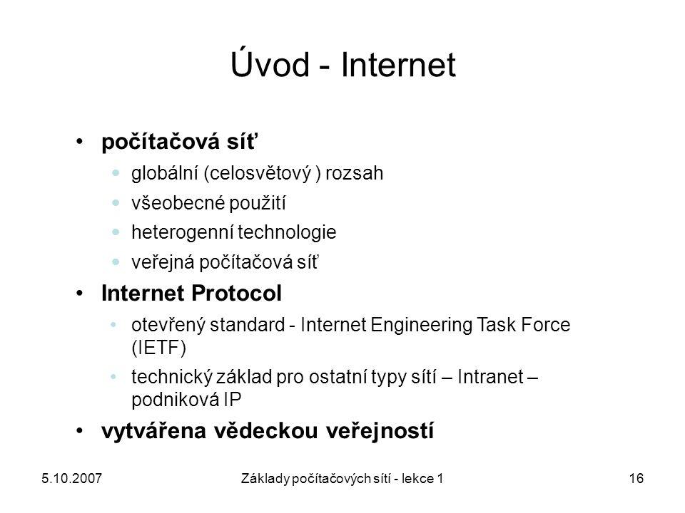 Základy počítačových sítí - lekce 1