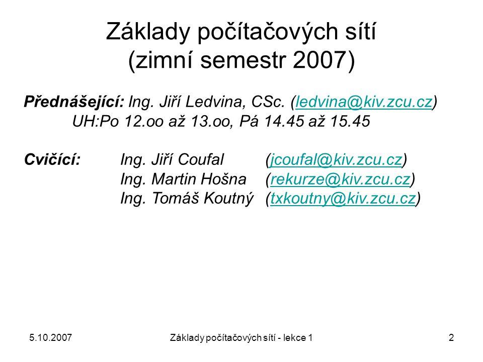 Základy počítačových sítí (zimní semestr 2007)