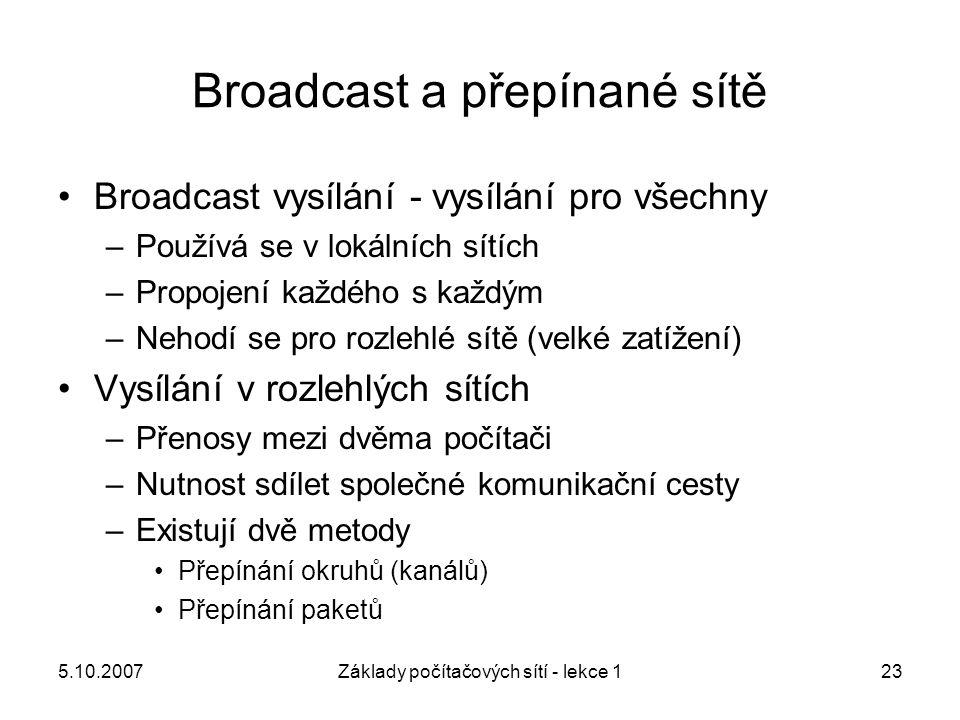 Broadcast a přepínané sítě
