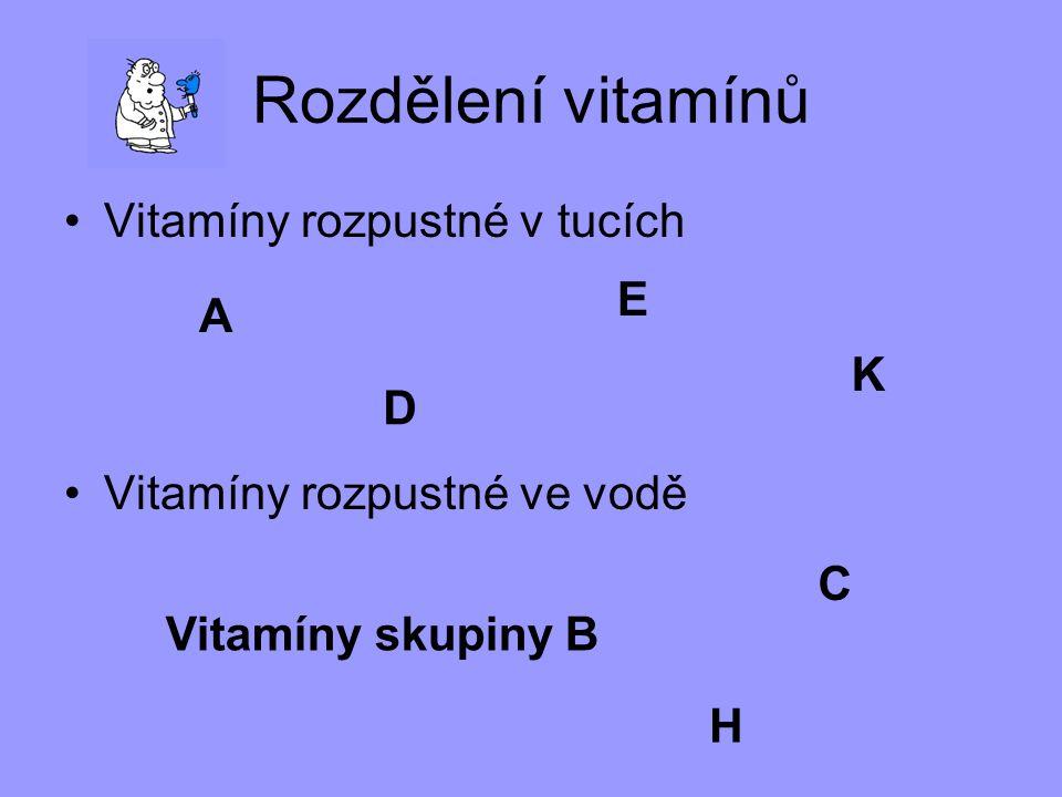 Rozdělení vitamínů Vitamíny rozpustné v tucích E A
