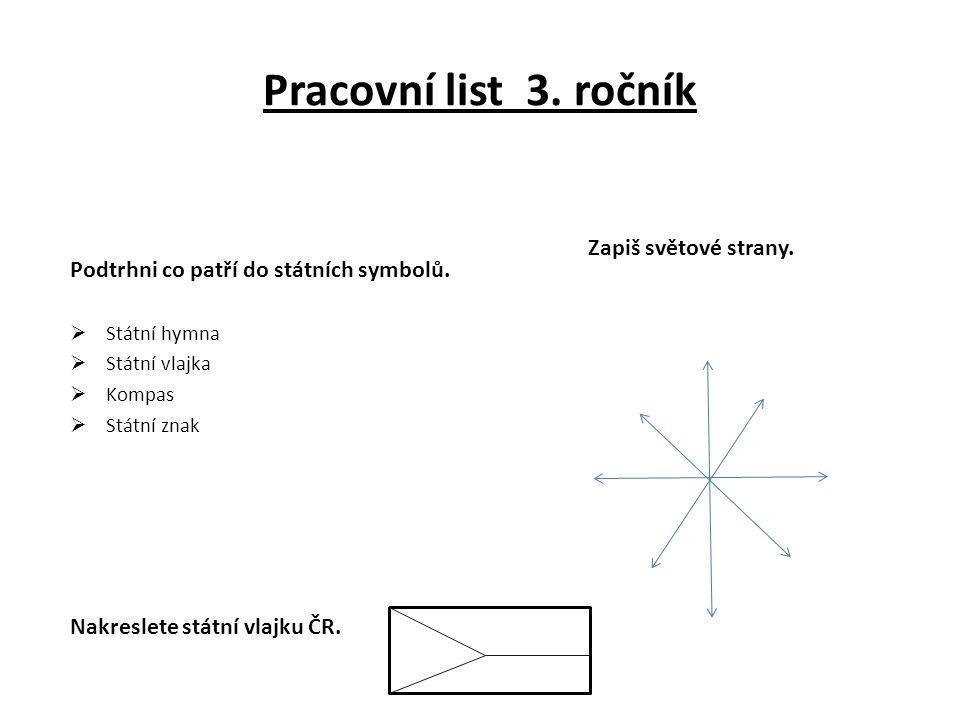 Pracovní list 3. ročník Zapiš světové strany.