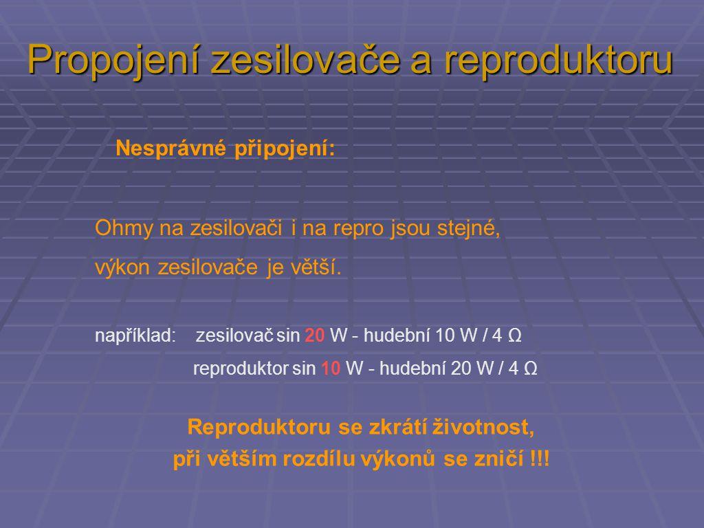 Propojení zesilovače a reproduktoru
