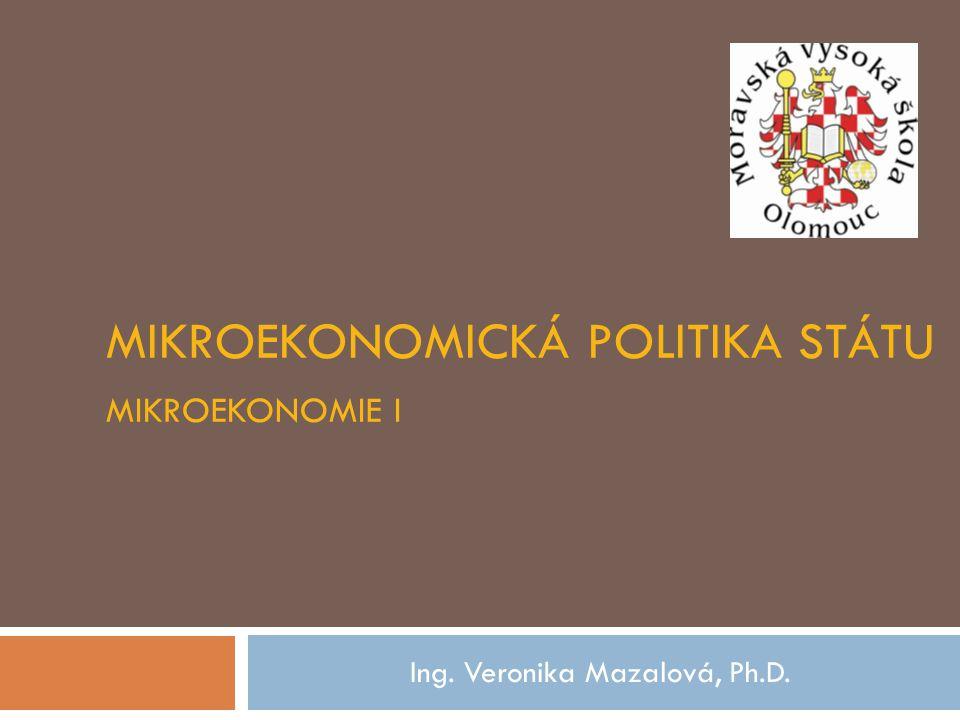 mikroekonomická politika státu Mikroekonomie I