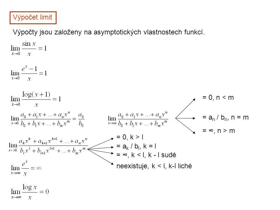 Výpočet limit Výpočty jsou založeny na asymptotických vlastnostech funkcí. = 0, n < m. = an / bn, n = m.
