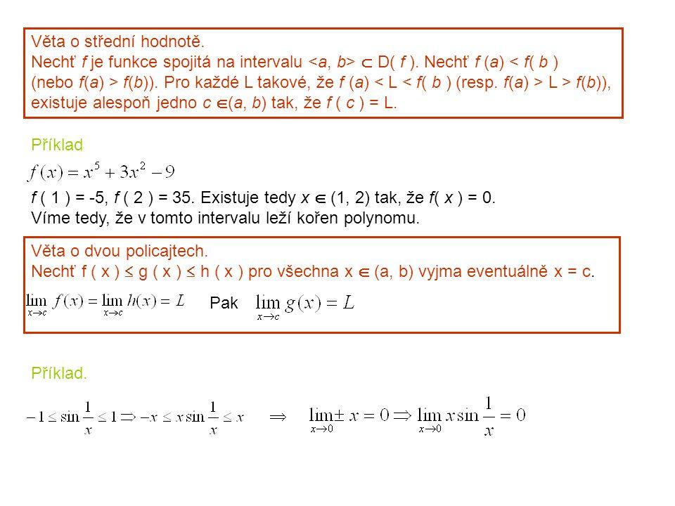 Věta o střední hodnotě. Nechť f je funkce spojitá na intervalu <a, b>  D( f ). Nechť f (a) < f( b )