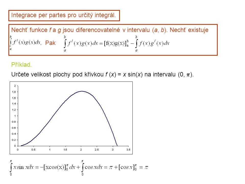 Integrace per partes pro určitý integrál.