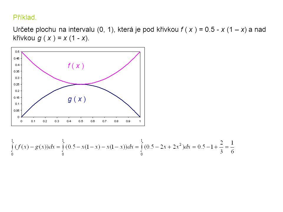 Příklad. Určete plochu na intervalu (0, 1), která je pod křivkou f ( x ) = 0.5 - x (1 – x) a nad. křivkou g ( x ) = x (1 - x).