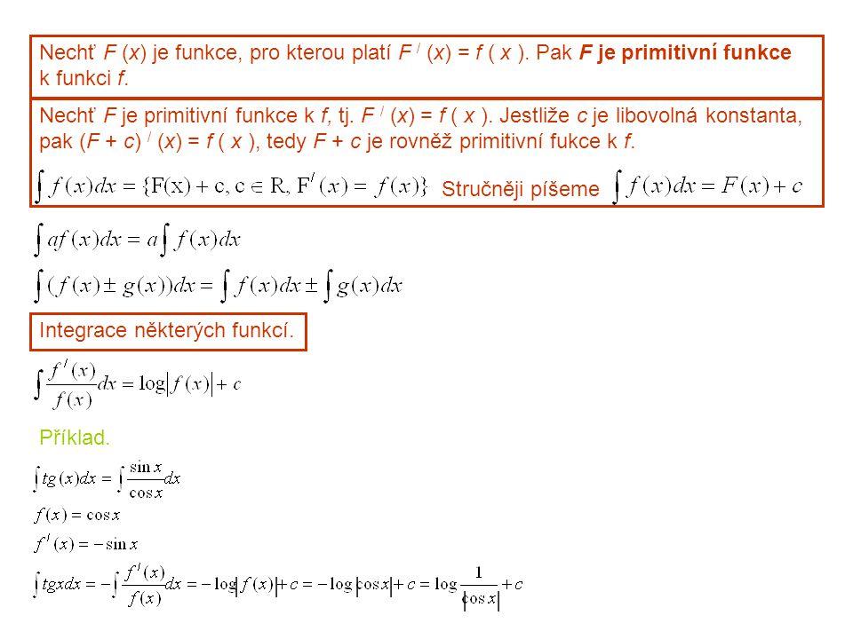 Nechť F (x) je funkce, pro kterou platí F / (x) = f ( x )