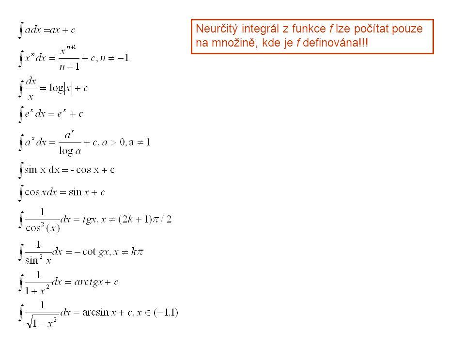 Neurčitý integrál z funkce f lze počítat pouze