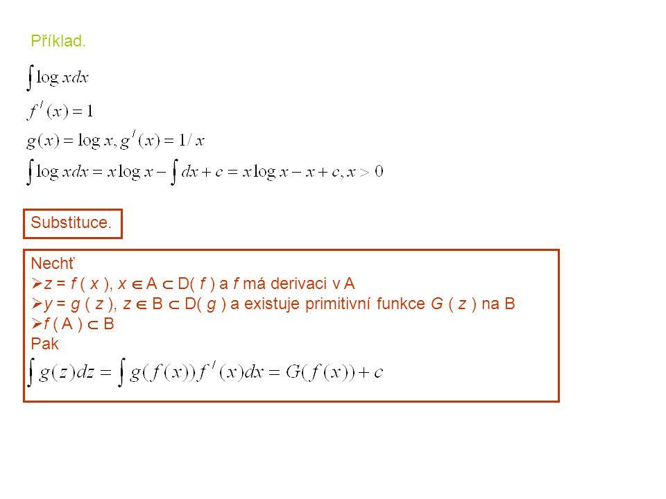 Příklad. Substituce. Nechť. z = f ( x ), x  A  D( f ) a f má derivaci v A. y = g ( z ), z  B  D( g ) a existuje primitivní funkce G ( z ) na B.