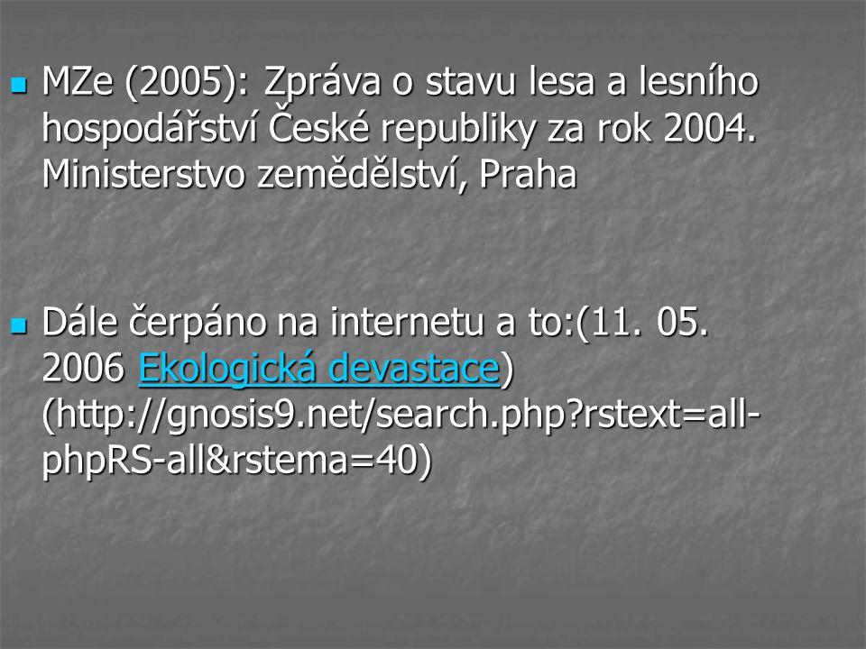 MZe (2005): Zpráva o stavu lesa a lesního hospodářství České republiky za rok 2004. Ministerstvo zemědělství, Praha