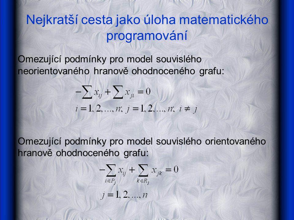 Nejkratší cesta jako úloha matematického programování