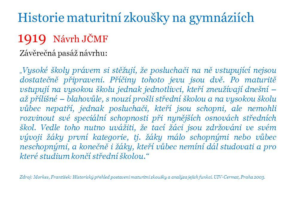 1919 Návrh JČMF Historie maturitní zkoušky na gymnáziích