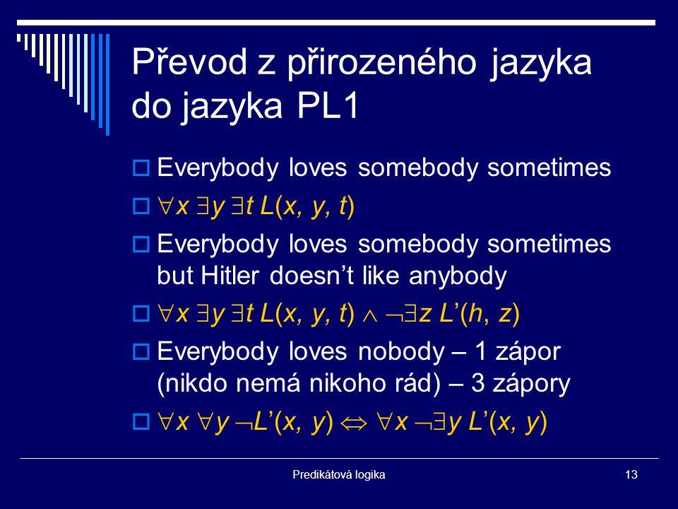 Převod z přirozeného jazyka do jazyka PL1