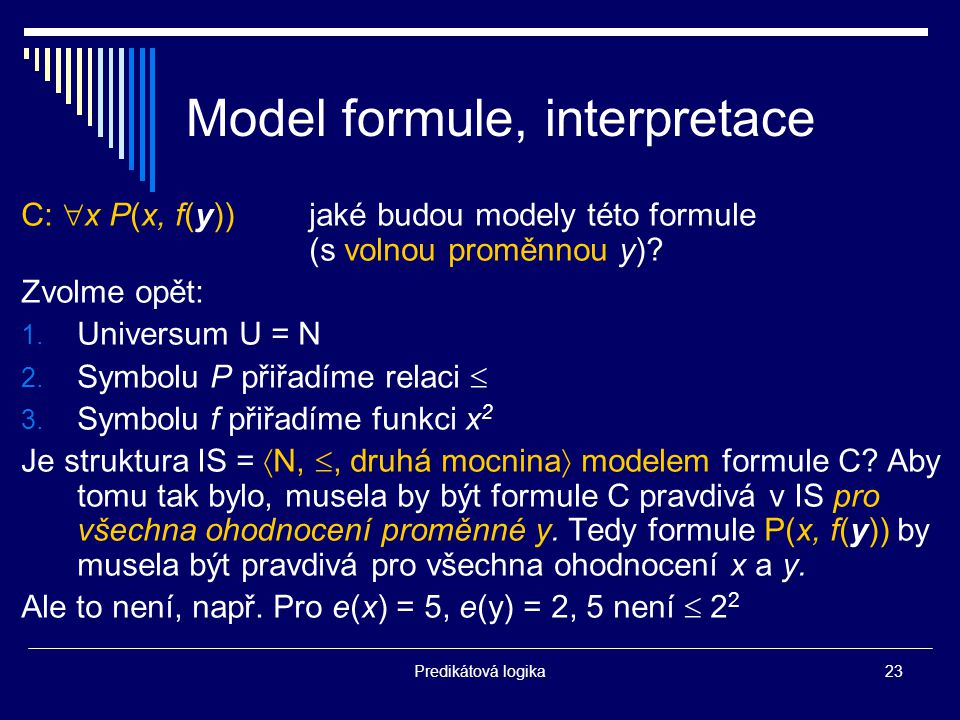 Model formule, interpretace