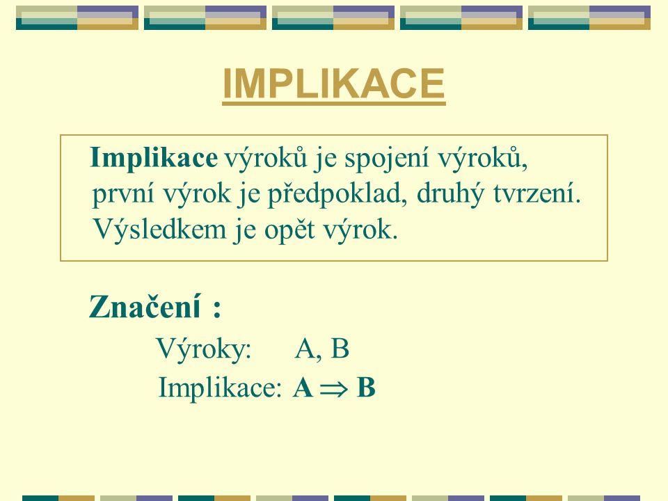 IMPLIKACE Implikace výroků je spojení výroků, první výrok je předpoklad, druhý tvrzení. Výsledkem je opět výrok.